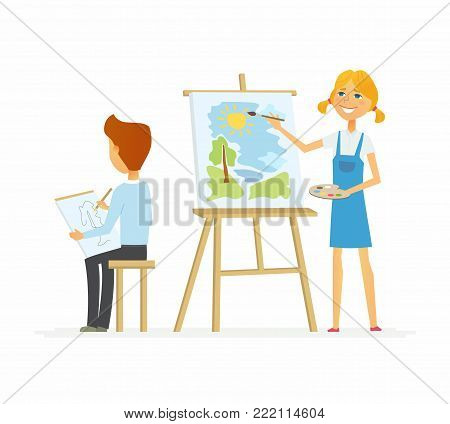 Two children drawing in class - cartoon people characters isolated illustration on white background. Smiling happy girl standing at the easels and painting, a boy sitting with a sketch-board
