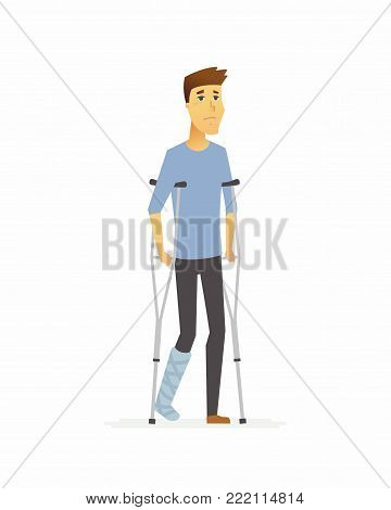 Young man on crutches - cartoon people characters isolated illustration on white background. A person with a broken plastered leg. High quality image for your presentation. Medical, healthcare theme