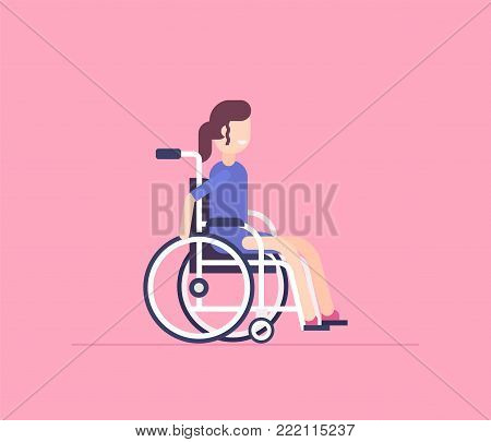 Girl in a wheelchair - modern flat design style isolated illustration on pink background. Smiling cheerful cartoon character, disabled, handicapped person