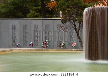 Kansas City, Missouri 11-4-2017 Kansas City Vietnam Veterans Memorial and Fountain was Dedicated in 1986 to all Vietnam veterans. It includes a memorial wall of 336 KC-area Vietnam veterans killed or missing in action.