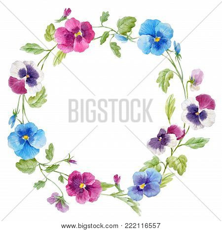 Beautiful wreath with hand drawn watercolor pansy flowers