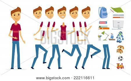 Schoolboy - vector cartoon people character constructor isolated on white background. Set of different face expressions, poses, gestures for animation. A lot of school objects, books, computer, toys