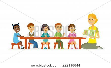 International kindergarten - cartoon people characters isolated illustration on white background. Young smiling female nursery teacher shows children a pictured book, kids sitting around the table