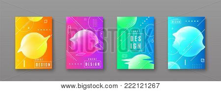 Bright color abstract pattern background with line gradient texture, geometric shape, glitch round form for minimal dynamic cover design. Blue, pink, yellow, green placard poster. Vector illustration