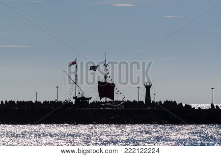 TOURIST SHIP ON VACATION - Small ship for scenic cruises on the red sea port