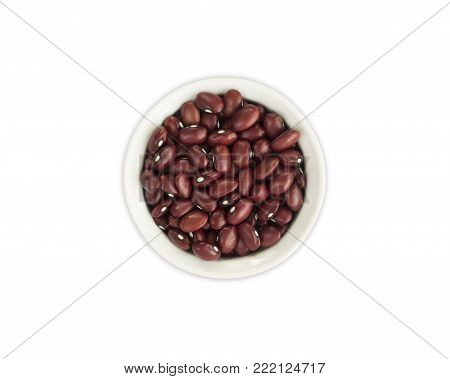 Kidney beans isolated on white background. Top view. Red kidney beans in a bowl isolated on white background. Kidney beans with copy space for text.