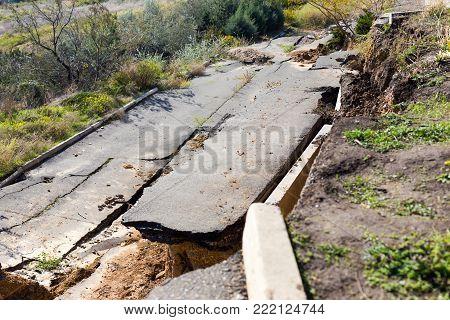 Landslide Caused By Torrential Rains Of Hurricane Christie.