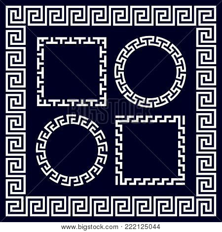 Ancient greek round and rectangular border frames. Greece border circle and ornament in greek style. Vector illustration