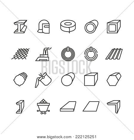 Steel material products line vector icons. Steel pipe and beam metallurgy outline pictograms. Metal pipe for industry, steel tube illustration