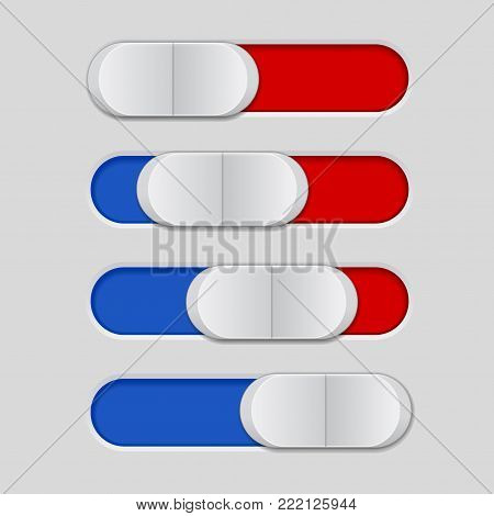 User interface slider. Blue and red control bar. Vector illustration