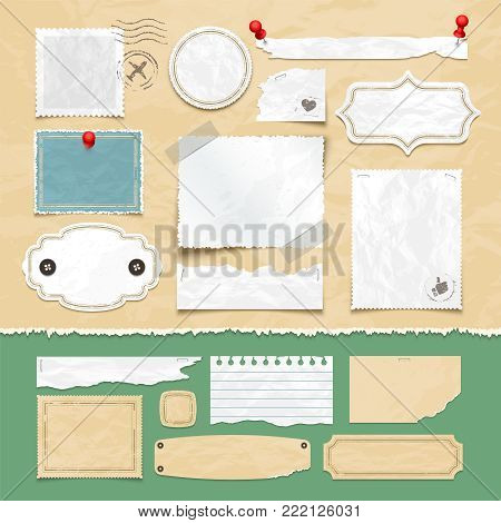 Vintage scrapbooking vector elements. Old scrap papers, photo frames, and labels. Illustration of scrapbook and paper card vintage