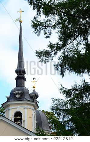 A view of a tall church spire in Pushkin town, Russia