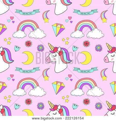 Cute unicorn, princess concept, girl beauty seamless pattern isolated on pink background. Vector cartoon design. Magic unicorn, heart, rainbow, stars, diamond, Pop style