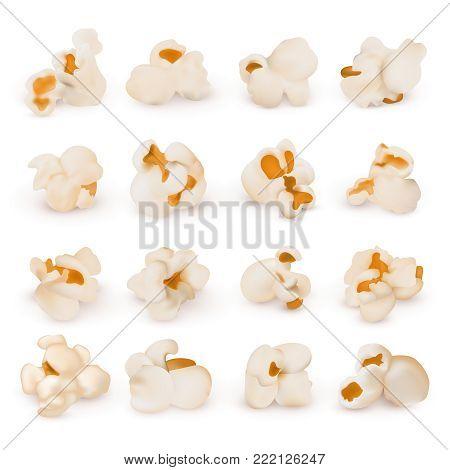 Macro realistic popcorn isolated vector set. Popcorn snack food, realistic nutrition illustration