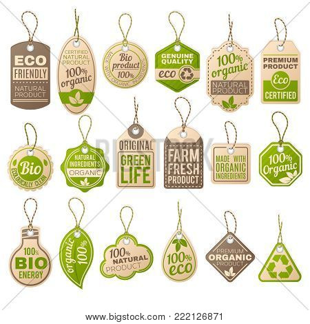 Vintage cardboard eco price tags. Shop organic bio farm vector paper labels. Sale eco tag, paper organic label cardboard illustration