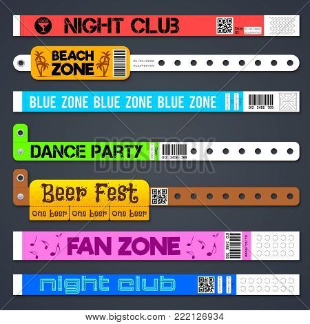 Zone entrance bracelets isolates. Concert or hotel vector plastic wristbands. Bracelet for hand, armlet for entrance and admit illustration