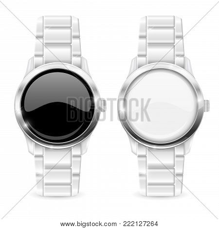 Men watch with metal bracelet. White and black empty clockface. Vector 3d illustration isolated on white background