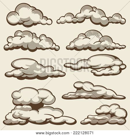 Hand drawn clouds in vintage style vector set. Cloud sketch fluffy, vintage drawing scribble illustration