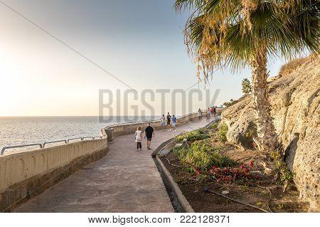 Puerto Rico, Gran Canaria Spain December 2017 The beautiful promenade connecting Puerto Rico and Amadores.