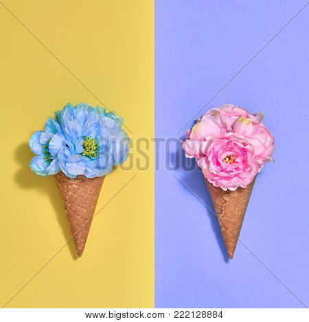 Ice Cream Cone Set with Flowers. Creative Minimal. Trendy fashion Yellow Purple Style. Spring Summer Floral concept. Colorful Neon Design. Pop Art