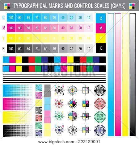 Calibration printing crop marks. CMYK color test vector document. Illustration of calibration color cmyk