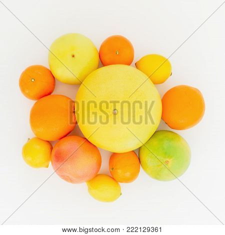 Fruits pattern of lemon, orange, grapefruit, sweetie and pomelo on white background. Flat lay, top view.