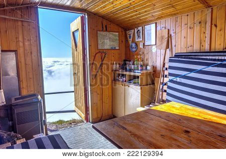 Interior Of The Bivouac In The Mountains