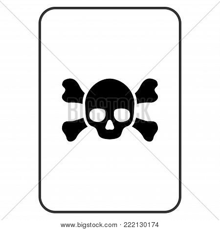 Death playing card icon. Vector style is a flat symbol of death on a gambling card.