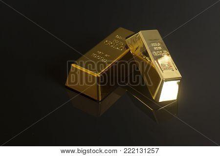 Gold bullion isolated on a black background