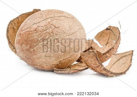 Coconut on a white background clipping path