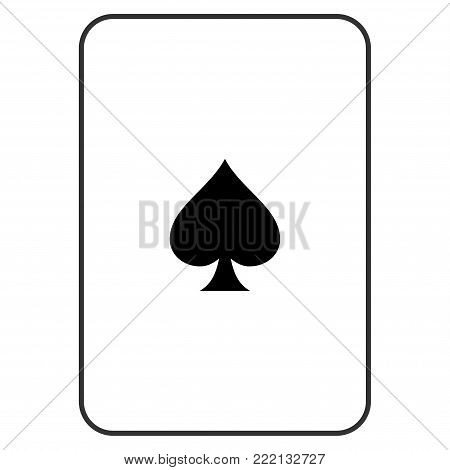 Peaks Suit playing card pictogram. Vector style is a flat symbol of peaks suit on a gambling card.