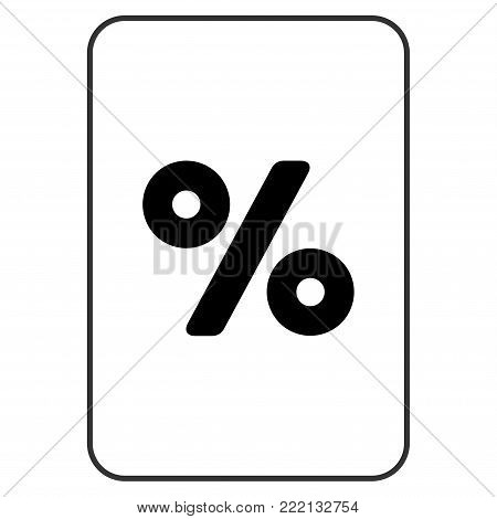 Percent playing card icon. Vector style is a flat symbol of percent on a gambling card.