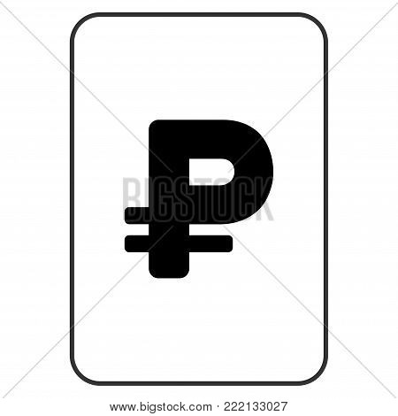 Rouble playing card pictograph. Vector style is a flat symbol of rouble on a gambling card.