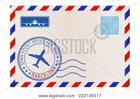 Envelope with Barcelona stamp. International mail postage with postmark and stamps. Vector illustration