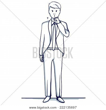 Young business man stands. He coughs, fell ill. Hand drawn doodle cartoon vector illustration.