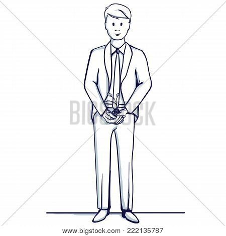 Young business man stands. He holds a sprout in his hands. Symbolizes successful business, growth trend. Hand drawn doodle cartoon vector illustration.
