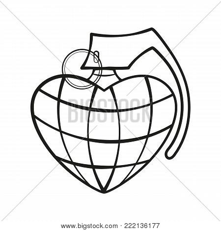 Heart Grenade Art vector art. Grunge illustration of heart shape with hand grenade elements. Happy valentines day.