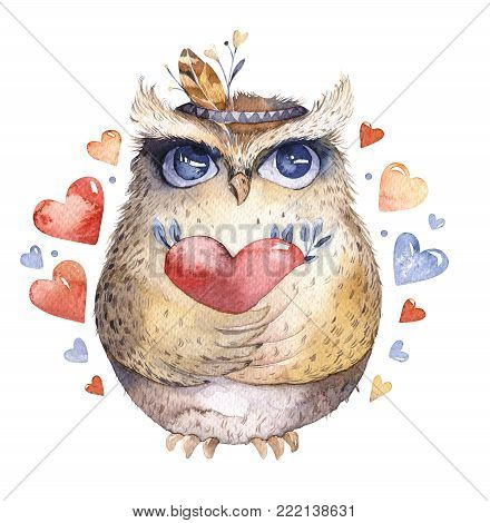 I love you. Lovely watercolor illustration with sweet owls, hearts and flowers in awesome colors. Stunning romantic valentines day card made in watercolor technique. Bright Valentines isolated design with love.