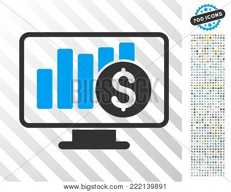 Stock Market Monitoring icon with 7 hundred bonus bitcoin mining and blockchain icons. Vector illustration style is flat iconic symbols design for cryptocurrency apps.