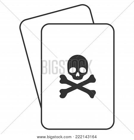 Death playing cards icon. Vector style is gambling card with death symbol.