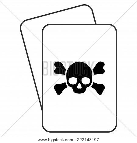 Death playing cards pictogram. Vector style is gambling card with death symbol.