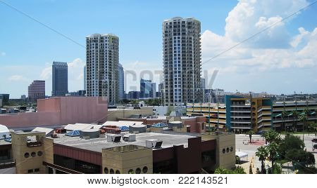 Cityscape of Tampa with tall buildings,photo taken from tall building