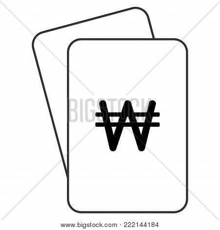 Korean Won playing cards pictograph. Vector style is gambling card with korean won symbol.