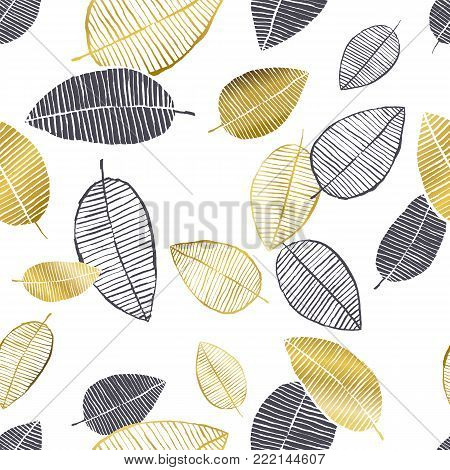 Vector Seamless Pattern With Hand Drawn Golden, Black, White Watercolor And Ink Leaves. Trendy Scand