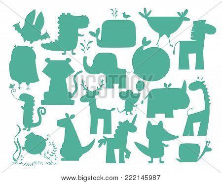 Animals silhouette set. Wild animals silhouette vector.