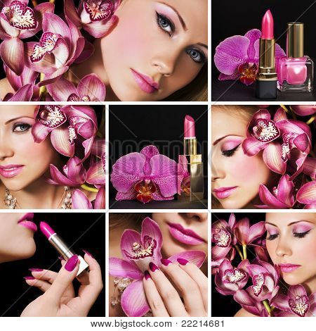 Collage of several photos beauty industry