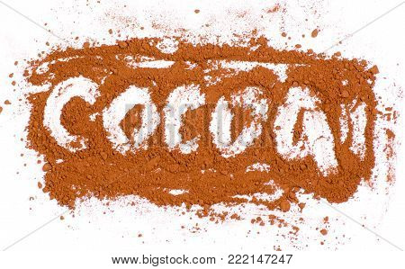 Cocoa word cocoa on a white background, with top view