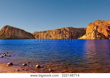 A view of Canyon Lake in Arizona from its shoreline. The lake is located along historic State Route 88.