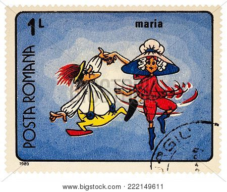 Moscow, Russia - January 15, 2017: A stamp printed in Romania, shows frame from Cartoon film
