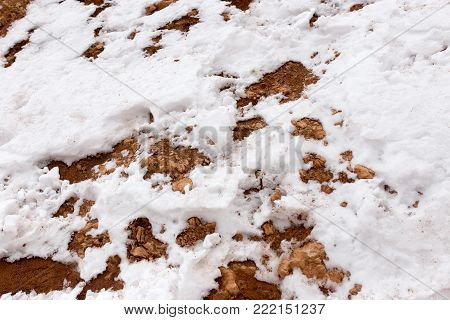 snow on red clay in nature . In the park in nature